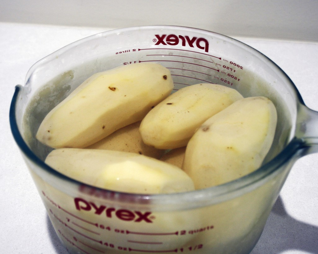 Step 1: Peel your potatoes and soak them in salt water for at least 8 hours.