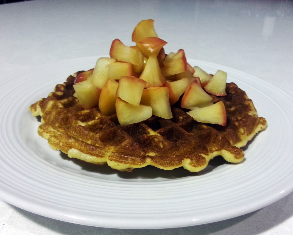 apple topped waffle